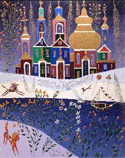 Winter With Violet sky 36x30 1996 Original Painting - Yuri Gorbachev