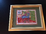 Of a Cat 1996 12x15 Embellished Works on Paper (not prints) by Yuri Gorbachev - 1