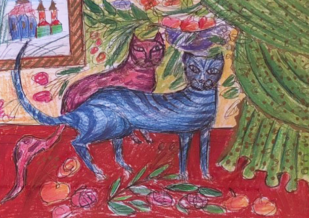 Of a Cat 1996 12x15 Embellished Works on Paper (not prints) by Yuri Gorbachev