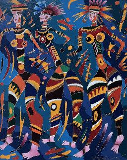 Three Girls 1991 36x28 Original Painting by Yuri Gorbachev