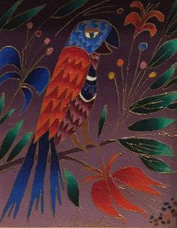 Parrot With Orange Wings 1996 8 X 10 Original Painting - Yuri Gorbachev