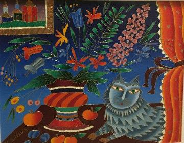 Cat With Still Life 1996 16x20 Original Painting - Yuri Gorbachev