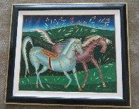 Running Horses 1994 33x33 Original Painting by Yuri Gorbachev - 5