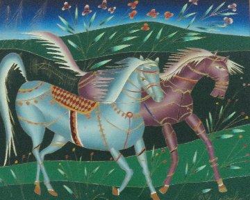 Running Horses 1994 33x33 Original Painting - Yuri Gorbachev