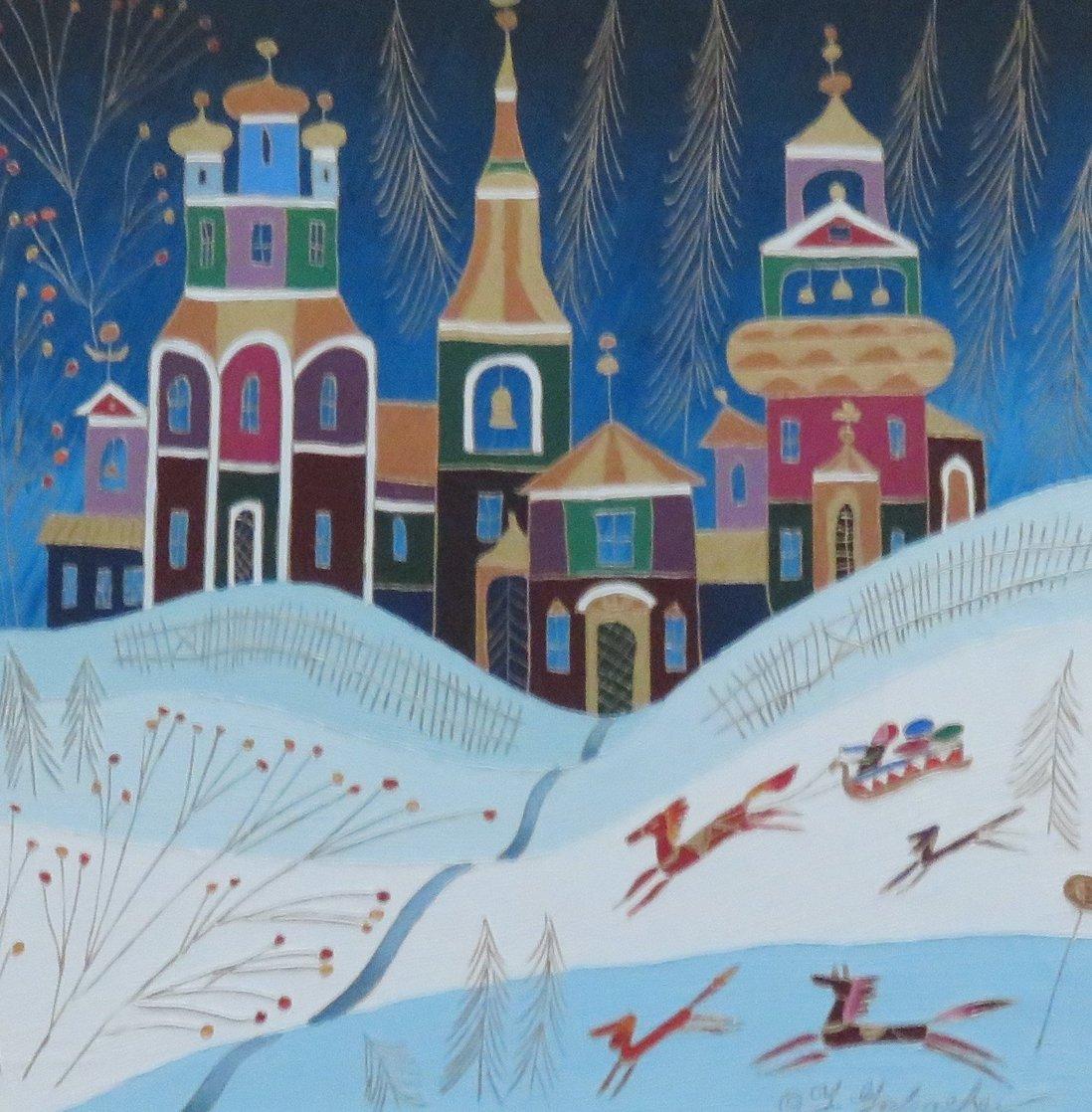 Winter Sleigh Ride  1994/33x33 Original Painting by Yuri Gorbachev