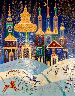 Winter Holiday in My City 1999 40x30 Original Painting - Yuri Gorbachev