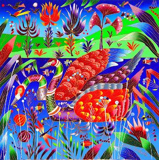 Swans 2008 24x24 with Book Original Painting - Yuri Gorbachev