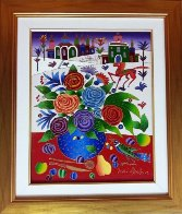 Still Life with Roses, Bird, Fruit Near Window in Winter 2010 20x16 Original Painting by Yuri Gorbachev - 1