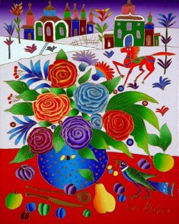 Still Life with Roses, Bird, Fruit Near Window in Winter 2010 20x16 Original Painting - Yuri Gorbachev