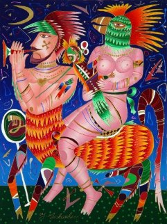Bird Woman on Centaur 1995 40x30 Original Painting - Yuri Gorbachev