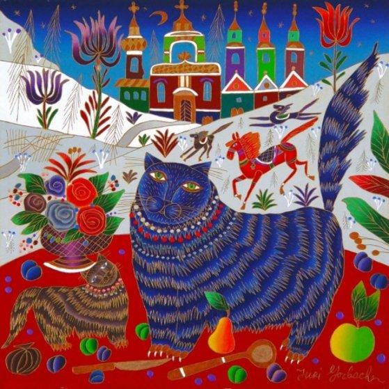 Cat and Kitten Near Window 2003 24x24 Original Painting by Yuri Gorbachev