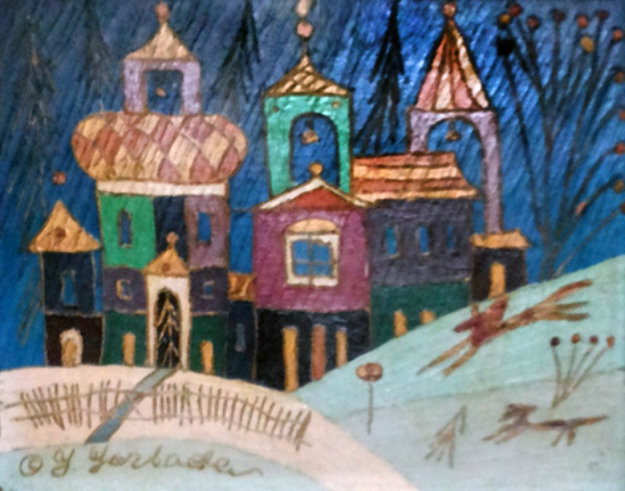 Russian Castle in the Hills 1994 15x17 Original Painting by Yuri Gorbachev