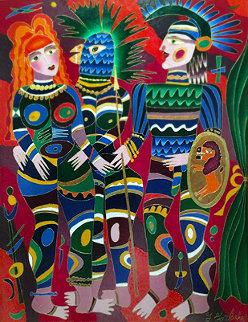 Soldier And Two Women 1991 54x42 Super Huge Original Painting - Yuri Gorbachev