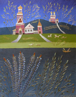 Landscape 1992 30x24 Original Painting - Yuri Gorbachev