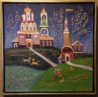 Village Scene 1992 26x26 Original Painting by Yuri Gorbachev - 1