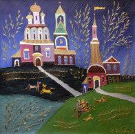 Village Scene 1992 26x26 Original Painting by Yuri Gorbachev - 0