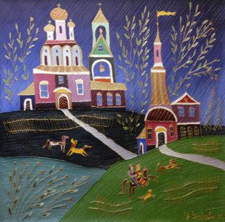 Village Scene 1992 26x26 Original Painting - Yuri Gorbachev