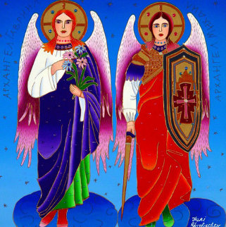 Archangels Gabriel And Michael 2012 24x24 Original Painting - Yuri Gorbachev