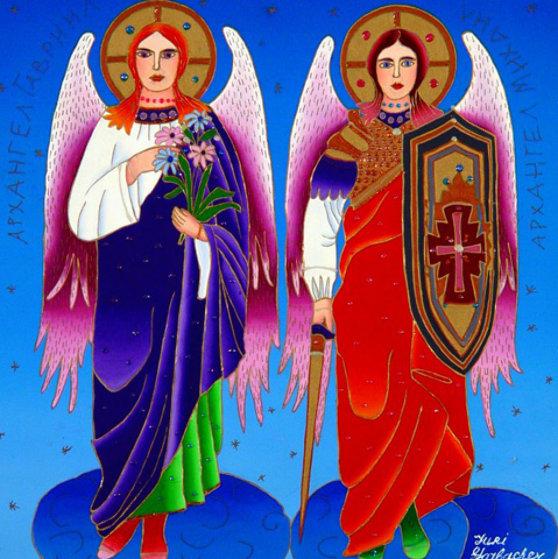 Archangels Gabriel And Michael 2012 24x24 Original Painting by Yuri Gorbachev