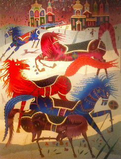 Horses in My Country 1980 65x55 Russia Original Painting - Yuri Gorbachev