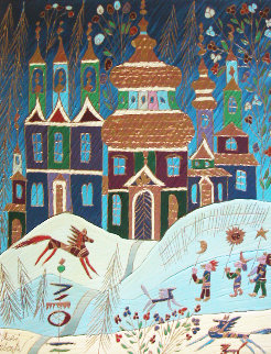 Winter in St. Petersburg 1998 22x26 Original Painting - Yuri Gorbachev