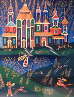 Musicians in Borovia Embellished Limited Edition Print - Yuri Gorbachev