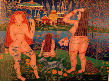 Bathers Embellished Limited Edition Print by Yuri Gorbachev