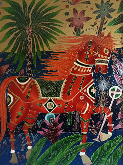 Red Horse 1990 40x52 Original Painting - Yuri Gorbachev
