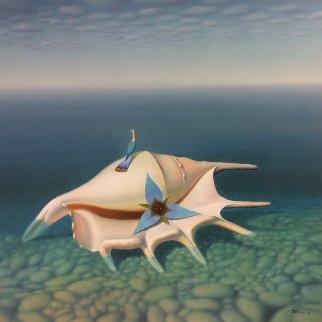 Big Seashell, Bird, Flower  2000 45x48 Huge Original Painting - Evgeni Gordiets