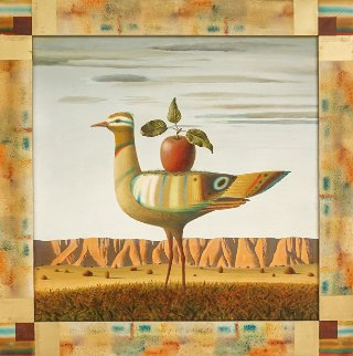 Bird And Apple 2012 30x30 Original Painting - Evgeni Gordiets