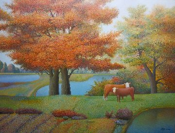 By the Red Tree 2011 40x52 Super Huge Original Painting - Evgeni Gordiets