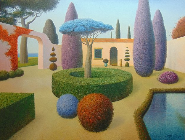 Garden With Blue Tree 2012 40x52 Original Painting by Evgeni Gordiets