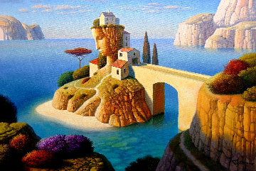 Yellow Bridge Island 2018 20x30 Original Painting - Evgeni Gordiets