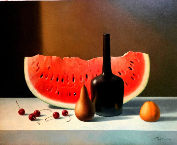 Still Life With Watermelon 2008 24x30 Original Painting by Evgeni Gordiets