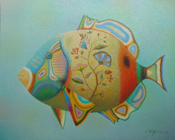 Fish With Flowers 2019 24x30 Original Painting - Evgeni Gordiets