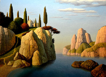 Seascape With Pink House 2008 30x40 Original Painting by Evgeni Gordiets