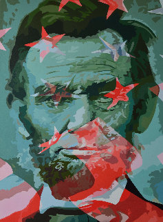 Anathema Painting 5, Lincoln And the American Flag 2017 60x43 Original Painting by Gordon Carter