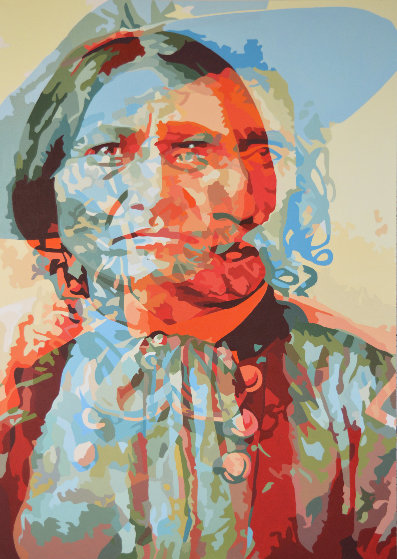 Anathema Painting 7, Sitting Bull and General Custer 2017 60x43 Original Painting by Gordon Carter
