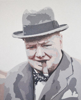 Icons of the 20th Century, Winston Churchill 2019 21x17 Original Painting - Gordon Carter