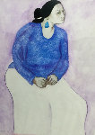 Young Mother Watching 1984 35x41 Original Painting - R.C. Gorman