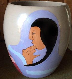 Joke State II TP Ceramic Vase 1982 10 in Sculpture by R.C. Gorman