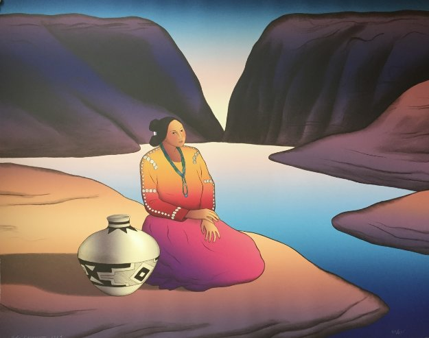 Triptych; Waterfall, Canyon Woman, Woman At the Lake  1989 Limited Edition Print by R.C. Gorman