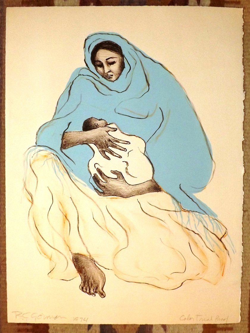 Mother And Child TP 1974 Unique Limited Edition Print by R.C. Gorman