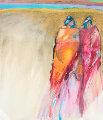 Best Friends 1966 32x30 (Early) Original Painting - R.C. Gorman