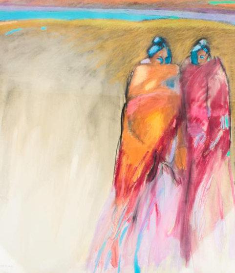 Best Friends 1966 32x30 (Early) Original Painting by R.C. Gorman