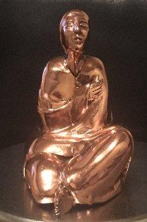 Sitting Woman Rare Cast Copper Sculpture  1980 Sculpture by R.C. Gorman