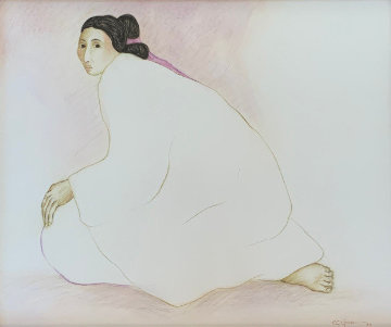 Woman Seated 1989 34x38 Works on Paper (not prints) by R.C. Gorman