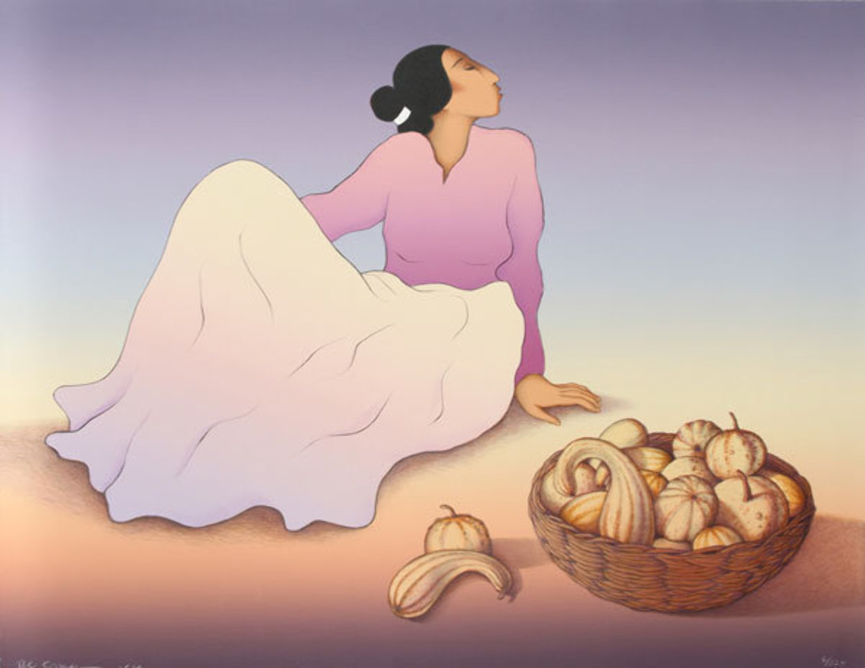 Woman With Gourds 1989 Limited Edition Print by R.C. Gorman
