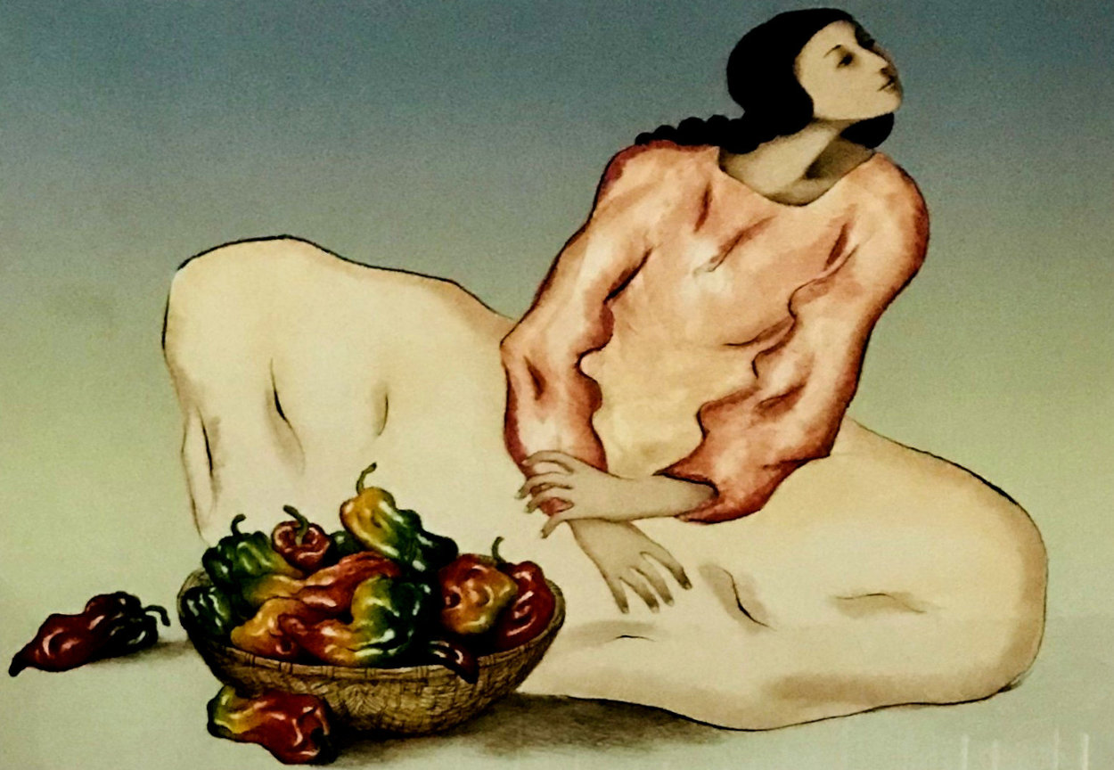 Lady With Peppers 1982  Limited Edition Print by R.C. Gorman