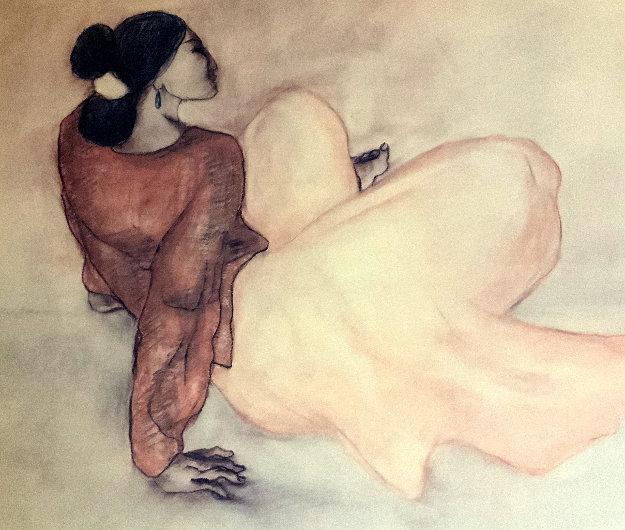 Untitled Portrait of a Woman Pastel 28x25 by R.C. Gorman